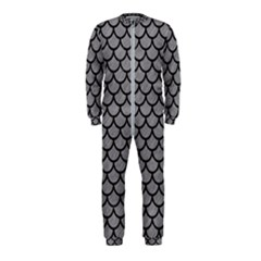 Scales1 Black Marble & Gray Colored Pencil (r) Onepiece Jumpsuit (kids)
