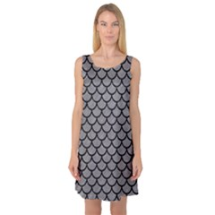 Scales1 Black Marble & Gray Colored Pencil (r) Sleeveless Satin Nightdress