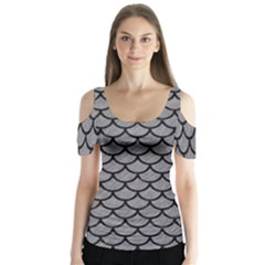 Scales1 Black Marble & Gray Colored Pencil (r) Butterfly Sleeve Cutout Tee