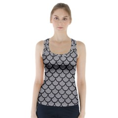 Scales1 Black Marble & Gray Colored Pencil (r) Racer Back Sports Top