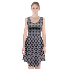 Scales1 Black Marble & Gray Colored Pencil (r) Racerback Midi Dress