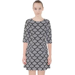 Scales1 Black Marble & Gray Colored Pencil (r) Pocket Dress