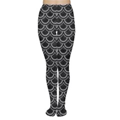 Scales2 Black Marble & Gray Colored Pencil Women s Tights