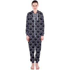 Scales2 Black Marble & Gray Colored Pencil Hooded Jumpsuit (ladies)