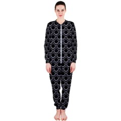 Scales2 Black Marble & Gray Colored Pencil Onepiece Jumpsuit (ladies)