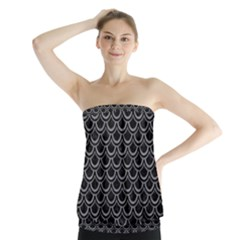 Scales2 Black Marble & Gray Colored Pencil Strapless Top