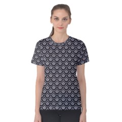 Scales2 Black Marble & Gray Colored Pencil (r) Women s Cotton Tee