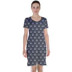 Scales2 Black Marble & Gray Colored Pencil (r) Short Sleeve Nightdress