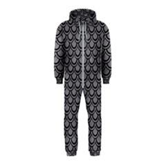 Scales2 Black Marble & Gray Colored Pencil (r) Hooded Jumpsuit (kids)