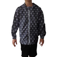 Scales2 Black Marble & Gray Colored Pencil (r) Hooded Wind Breaker (kids)