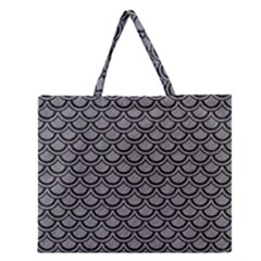 Scales2 Black Marble & Gray Colored Pencil (r) Zipper Large Tote Bag