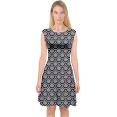 Scales2 Black Marble & Gray Colored Pencil (r) Capsleeve Midi Dress