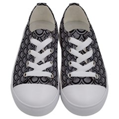 Scales2 Black Marble & Gray Colored Pencil (r) Kids  Low Top Canvas Sneakers