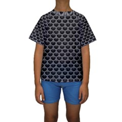 Scales3 Black Marble & Gray Colored Pencil Kids  Short Sleeve Swimwear