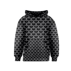 Scales3 Black Marble & Gray Colored Pencil Kids  Pullover Hoodie