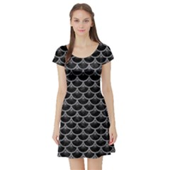 Scales3 Black Marble & Gray Colored Pencil Short Sleeve Skater Dress