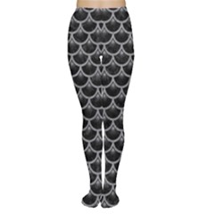 Scales3 Black Marble & Gray Colored Pencil Women s Tights
