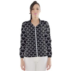 Scales3 Black Marble & Gray Colored Pencil Wind Breaker (women)