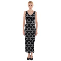 Scales3 Black Marble & Gray Colored Pencil Fitted Maxi Dress