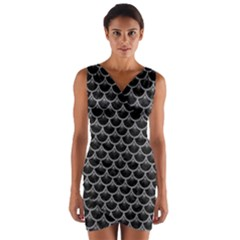 Scales3 Black Marble & Gray Colored Pencil Wrap Front Bodycon Dress
