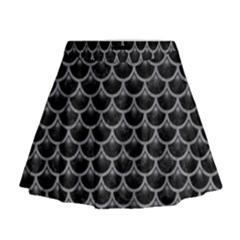 Scales3 Black Marble & Gray Colored Pencil Mini Flare Skirt