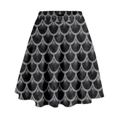 Scales3 Black Marble & Gray Colored Pencil High Waist Skirt