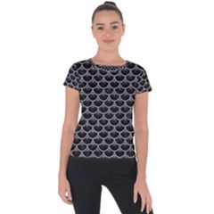Scales3 Black Marble & Gray Colored Pencil Short Sleeve Sports Top
