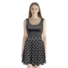 Scales3 Black Marble & Gray Colored Pencil Split Back Mini Dress