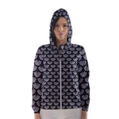 Scales3 Black Marble & Gray Colored Pencil (r) Hooded Wind Breaker (women)