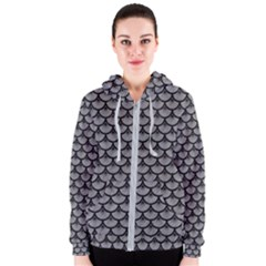 Scales3 Black Marble & Gray Colored Pencil (r) Women s Zipper Hoodie