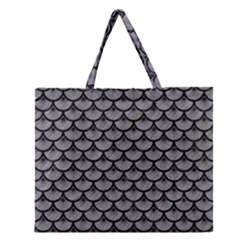 Scales3 Black Marble & Gray Colored Pencil (r) Zipper Large Tote Bag
