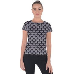 Scales3 Black Marble & Gray Colored Pencil (r) Short Sleeve Sports Top