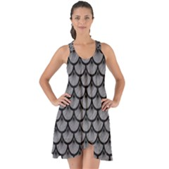Scales3 Black Marble & Gray Colored Pencil (r) Show Some Back Chiffon Dress