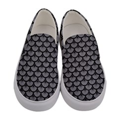 Scales3 Black Marble & Gray Colored Pencil (r) Women s Canvas Slip Ons