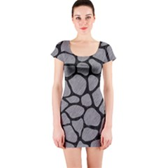 Skin1 Black Marble & Gray Colored Pencil Short Sleeve Bodycon Dress