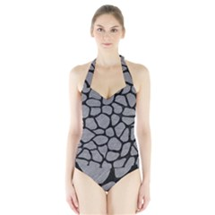 Skin1 Black Marble & Gray Colored Pencil Halter Swimsuit
