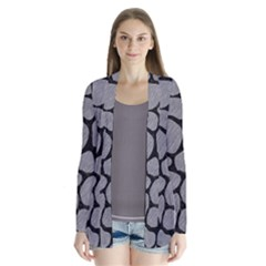 Skin1 Black Marble & Gray Colored Pencil Drape Collar Cardigan