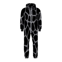 Skin1 Black Marble & Gray Colored Pencil (r) Hooded Jumpsuit (kids)