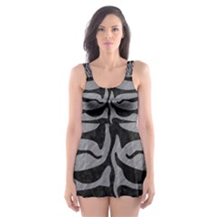 Skin2 Black Marble & Gray Colored Pencil (r) Skater Dress Swimsuit