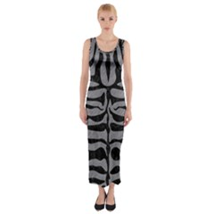 Skin2 Black Marble & Gray Colored Pencil (r) Fitted Maxi Dress