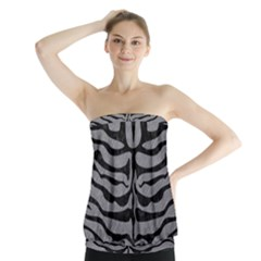 Skin2 Black Marble & Gray Colored Pencil (r) Strapless Top