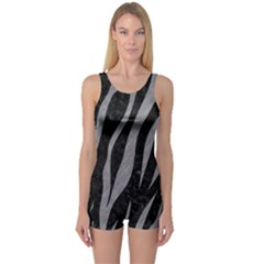 Skin3 Black Marble & Gray Colored Pencil One Piece Boyleg Swimsuit