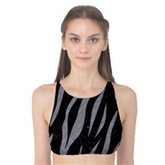 Skin3 Black Marble & Gray Colored Pencil Tank Bikini Top