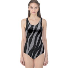 Skin3 Black Marble & Gray Colored Pencil One Piece Swimsuit