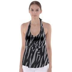 Skin3 Black Marble & Gray Colored Pencil Babydoll Tankini Top
