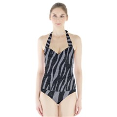 Skin3 Black Marble & Gray Colored Pencil Halter Swimsuit