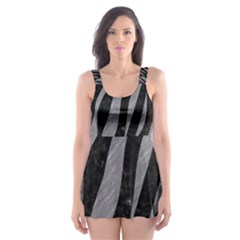 Skin3 Black Marble & Gray Colored Pencil Skater Dress Swimsuit