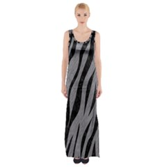 Skin3 Black Marble & Gray Colored Pencil (r) Maxi Thigh Split Dress