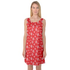 Xmas Pattern Sleeveless Satin Nightdress