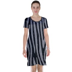 Skin4 Black Marble & Gray Colored Pencil (r) Short Sleeve Nightdress